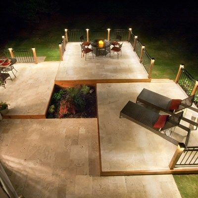 Ideas For Deck Designs deck design help Stone Deck With Metal Raili