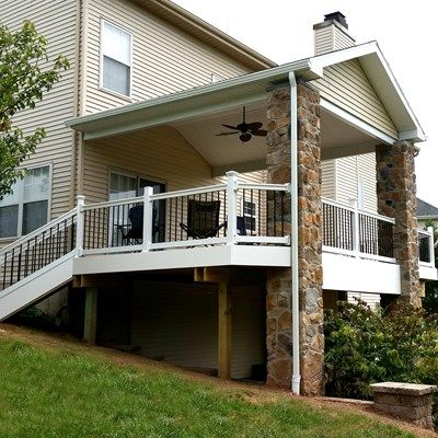 Deck with stone columns picture 1793 for Balcony covering nets