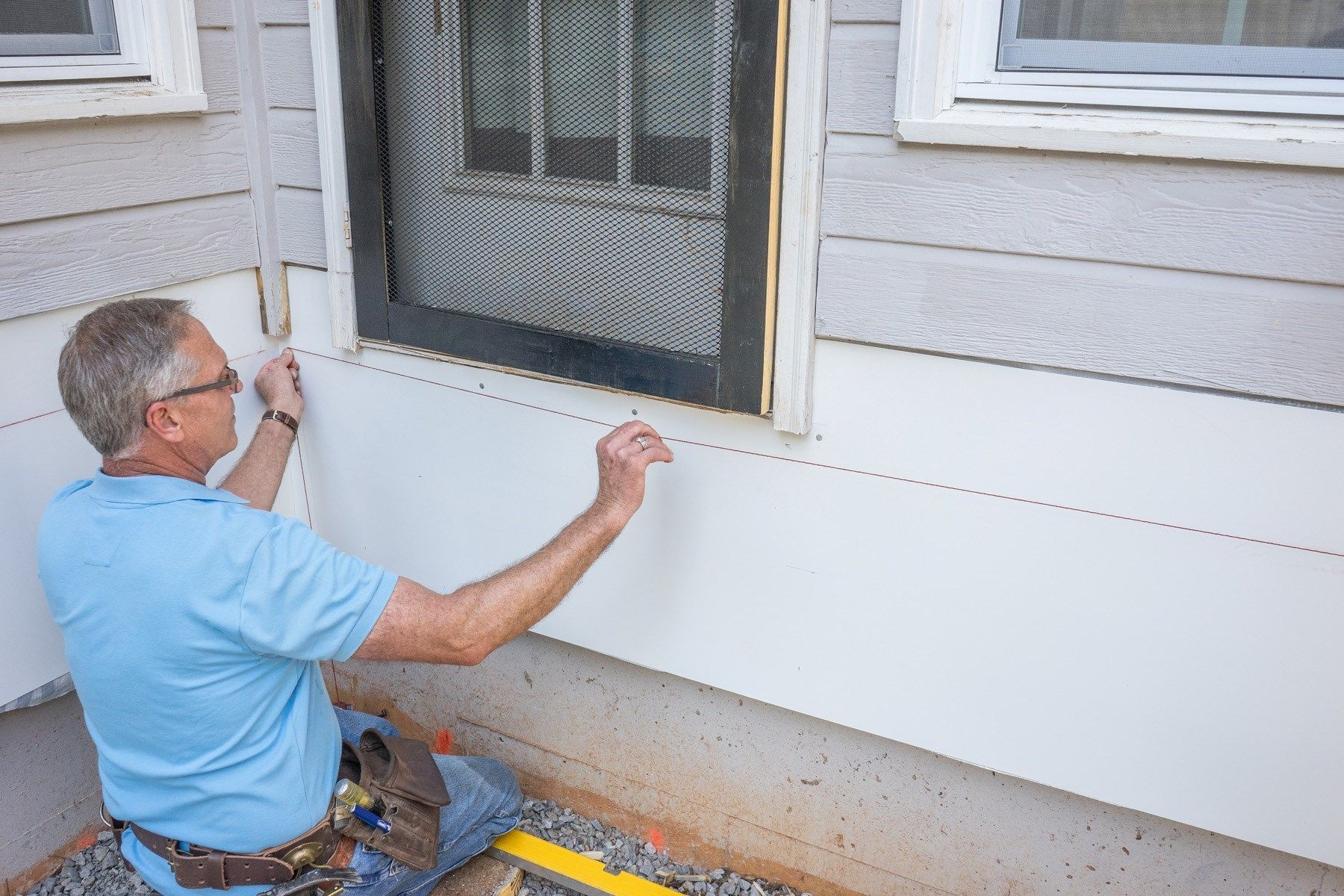 Attaching deck to house with siding - Snap A Chalk Line