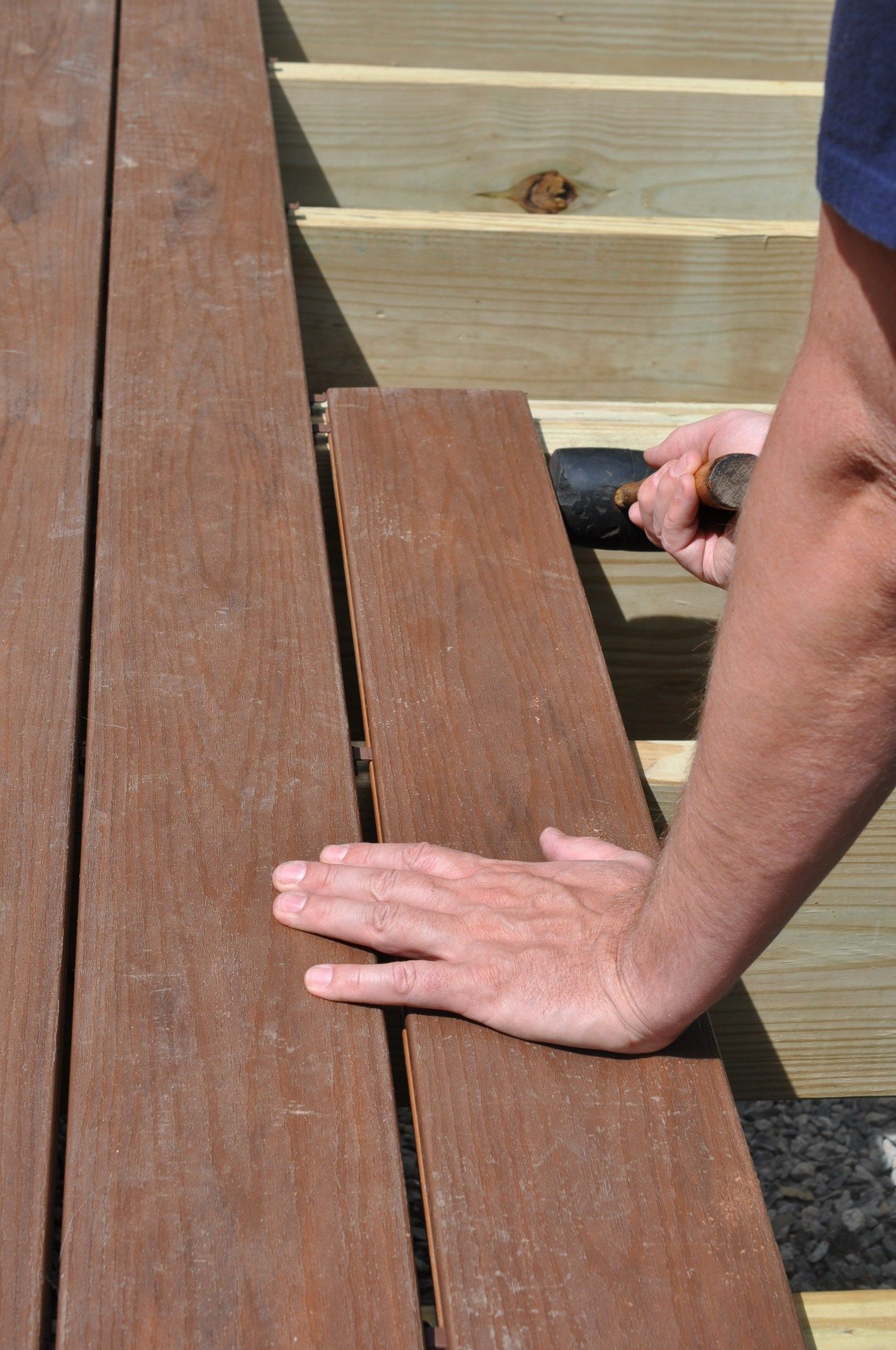 Line Up The Seams Over Double Joists To Installposite Decking