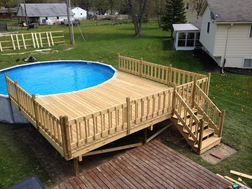 How do i build an above ground pool deck for Above ground oval pool deck plans