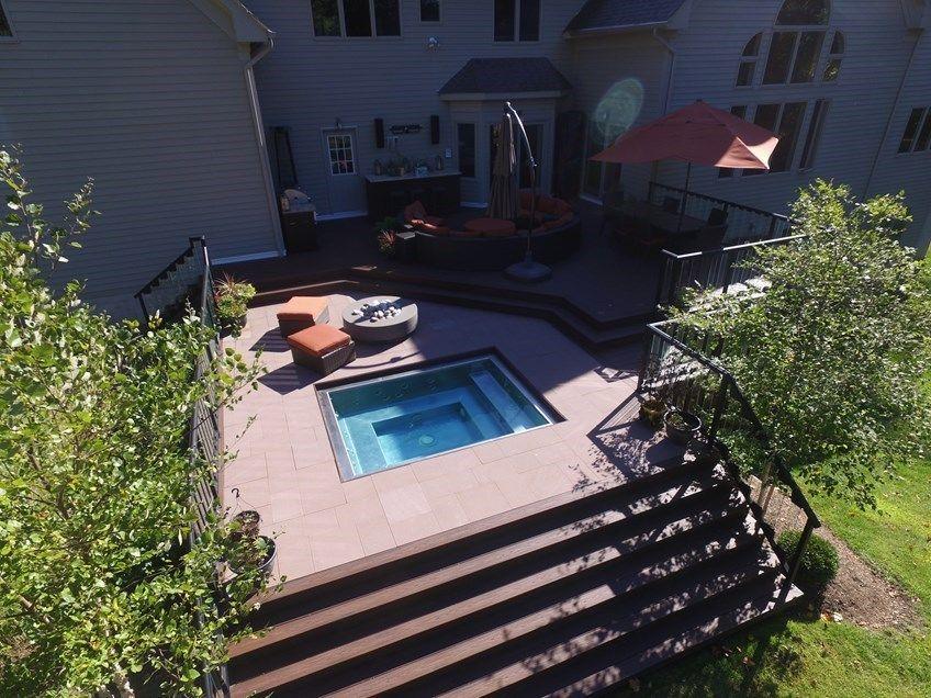 access to recessed hot tub decks