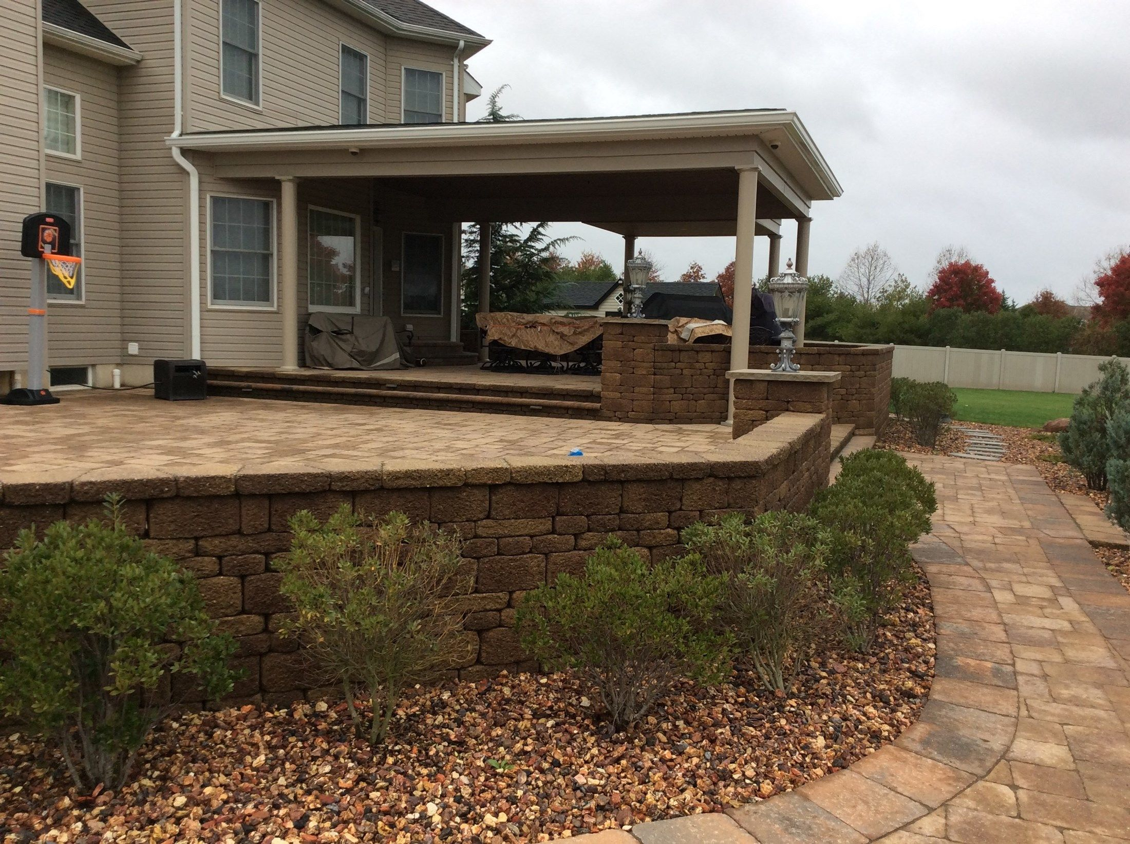custom roof over paver patio in upper freehold