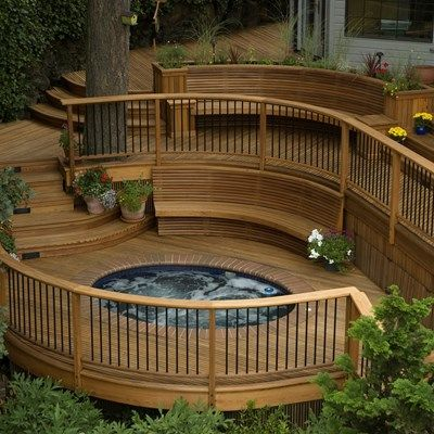 Example of curved decking with hot tub