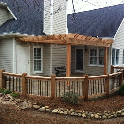 Cedar pergola with cedar railing. - Picture 3475