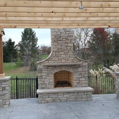 Pergola with Stone Columns - Picture 3633