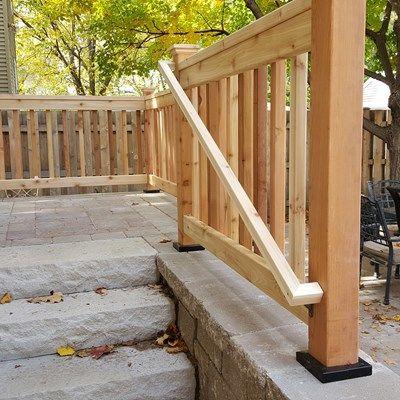Cedar Rail on a Brick Stoop - Picture 3646