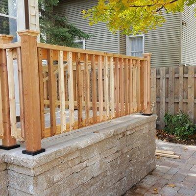 Cedar Rail on a Brick Stoop - Picture 3647