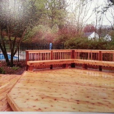 Cedar deck with Privacy wall - Picture 6136