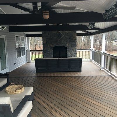Custom Roofed deck with Fireplace in Millstone nj - Picture 6772