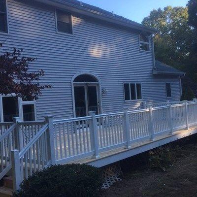 Cedar Deck With All White Trim Picture 7097 Decks Com