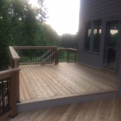 Cedar deck with aluminum baluster railings. - Picture 7215