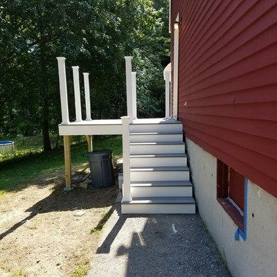 8x8 Composite Deck Double Stairway Picture 7313 Decks Com