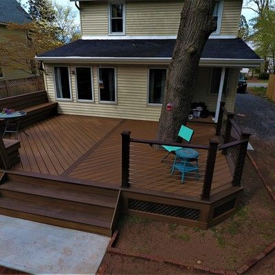 Around the tree deck , V-shape floor & custom bench - Picture 7549
