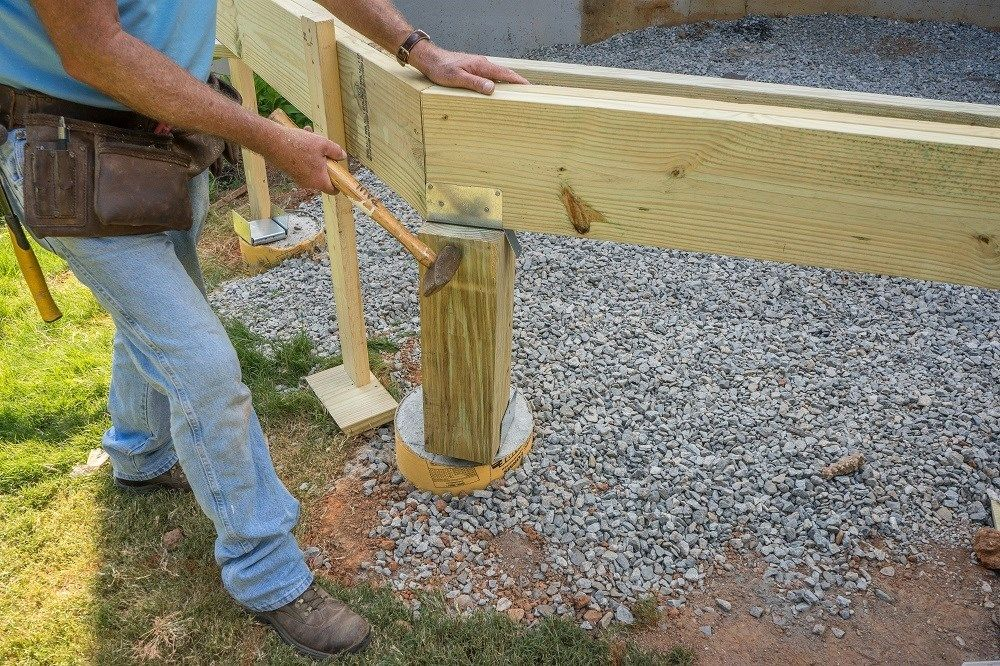 how to install wood deck support posts. Black Bedroom Furniture Sets. Home Design Ideas