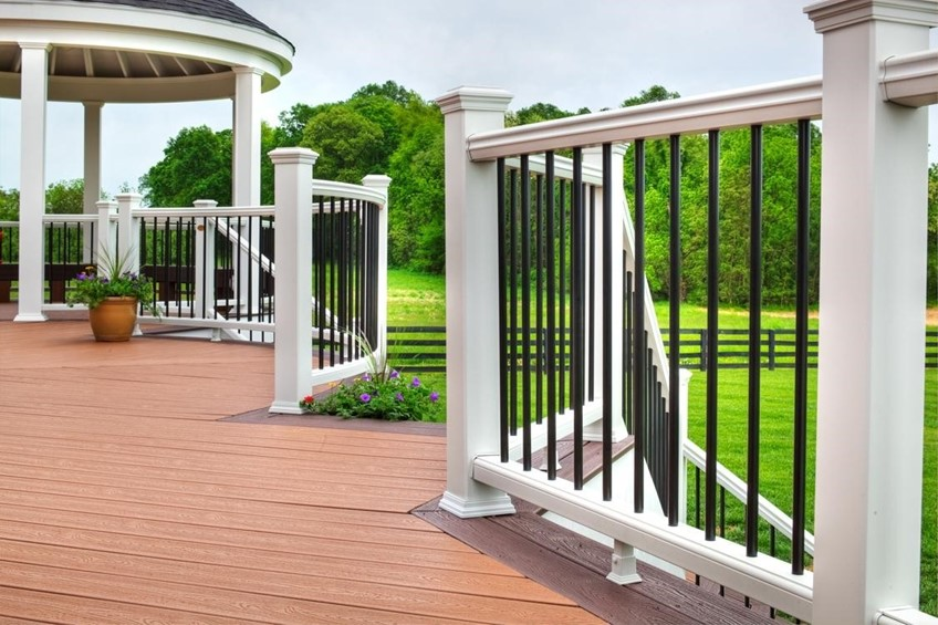 Composite deck with gazebo looking over green field