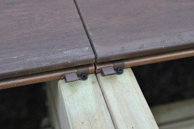 Grooved decking with hidden fasteners.