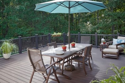 Expansive backyard dining area for entertaining guests