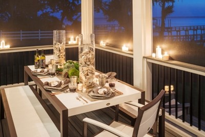 Candlelit outdoor eating area