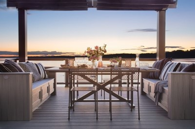 Outdoor dining room with a beautiful ocean view