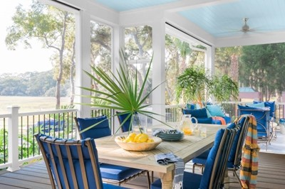 Outdoor eating area with colorful patio dining decor
