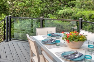 Outdoor dining area on small patio