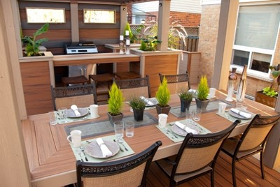 Backyard kitchen and serving area on a backyard composite deck