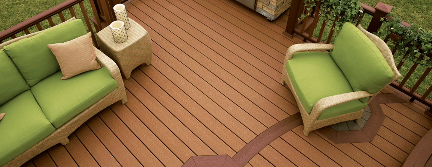 Aerial image of composite decking boards with outdoor furniture