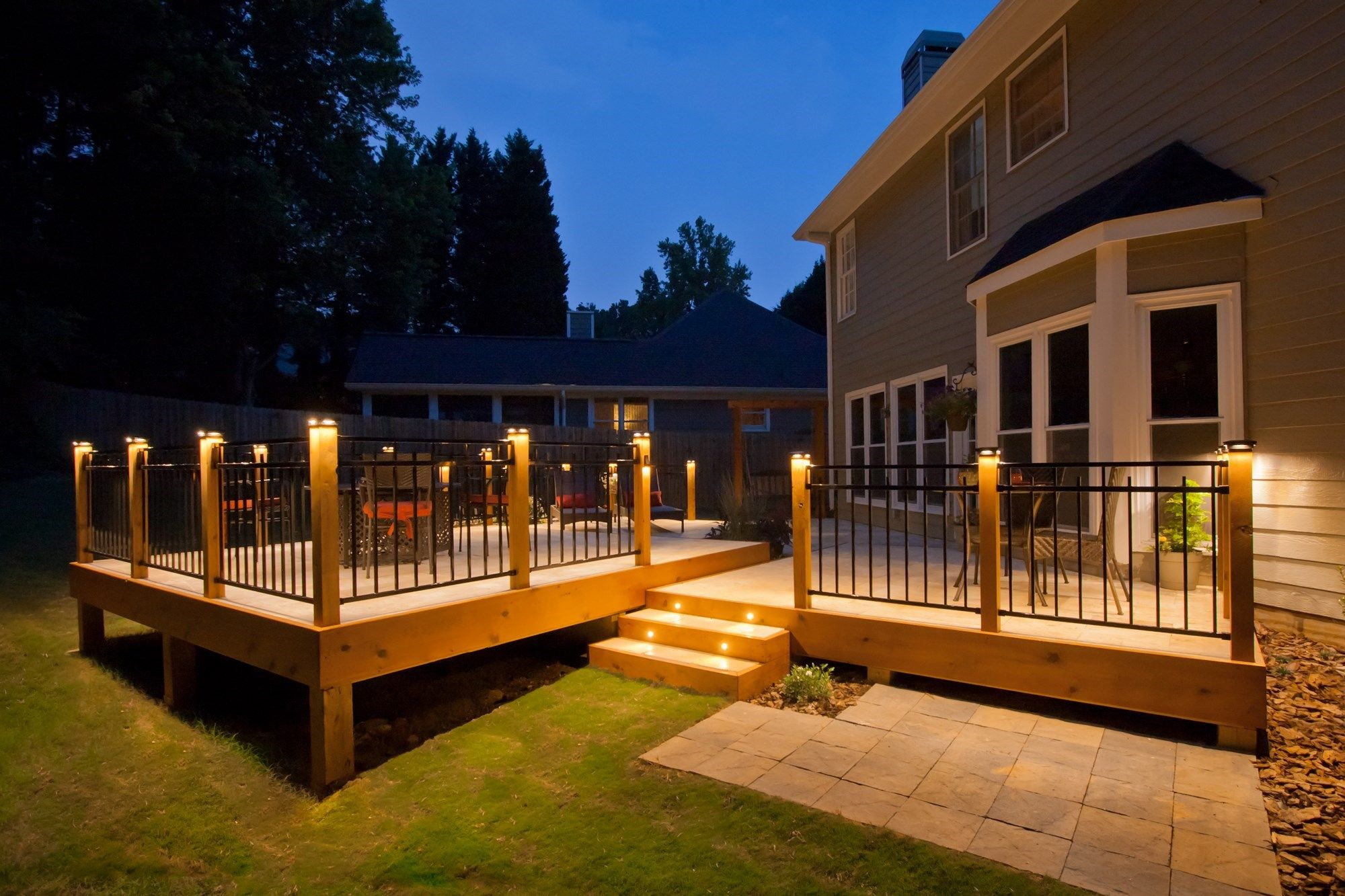 Stone Deck With Metal Railings Picture 1083 Decks Com