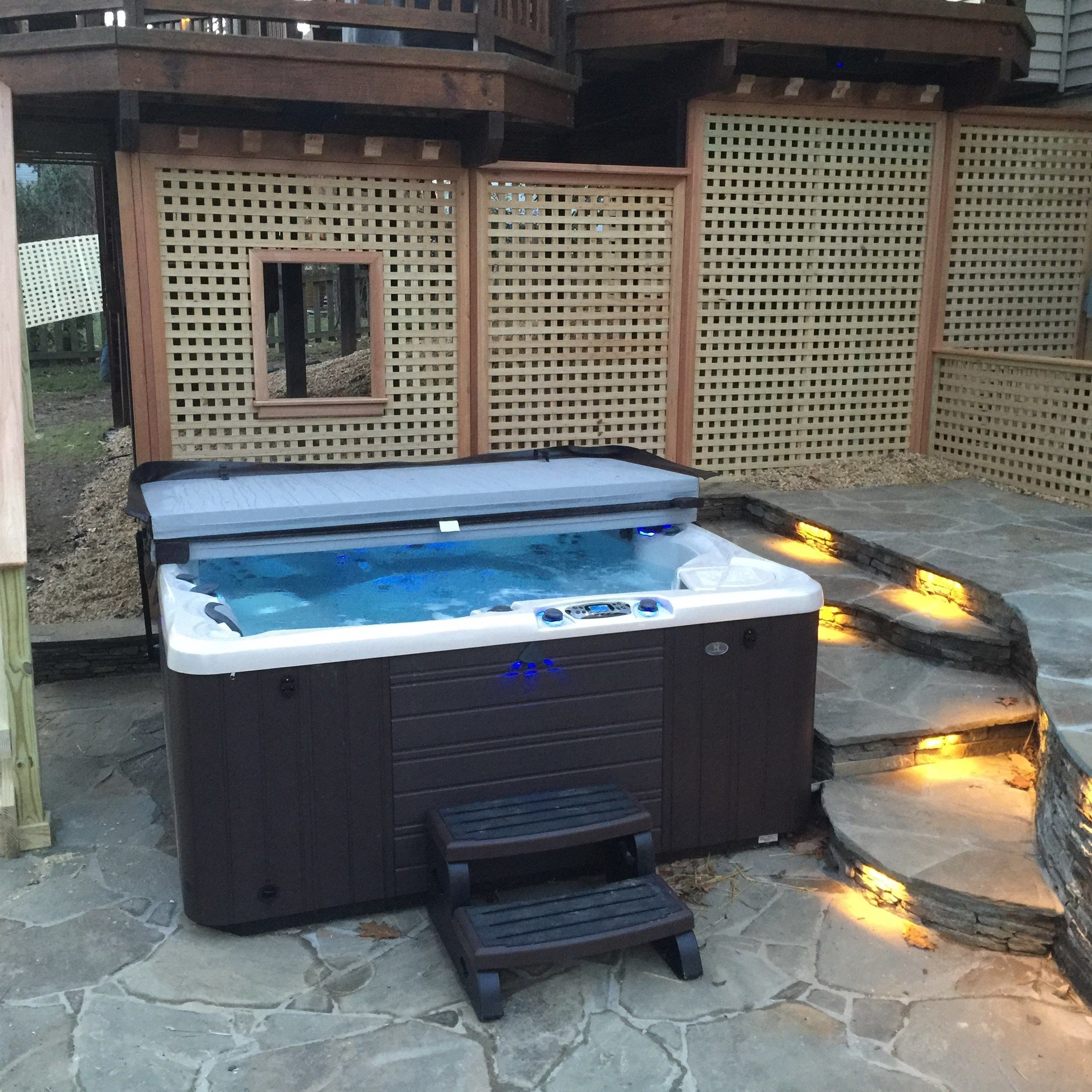 Flagstone patio with Hot tub. - Picture 2028