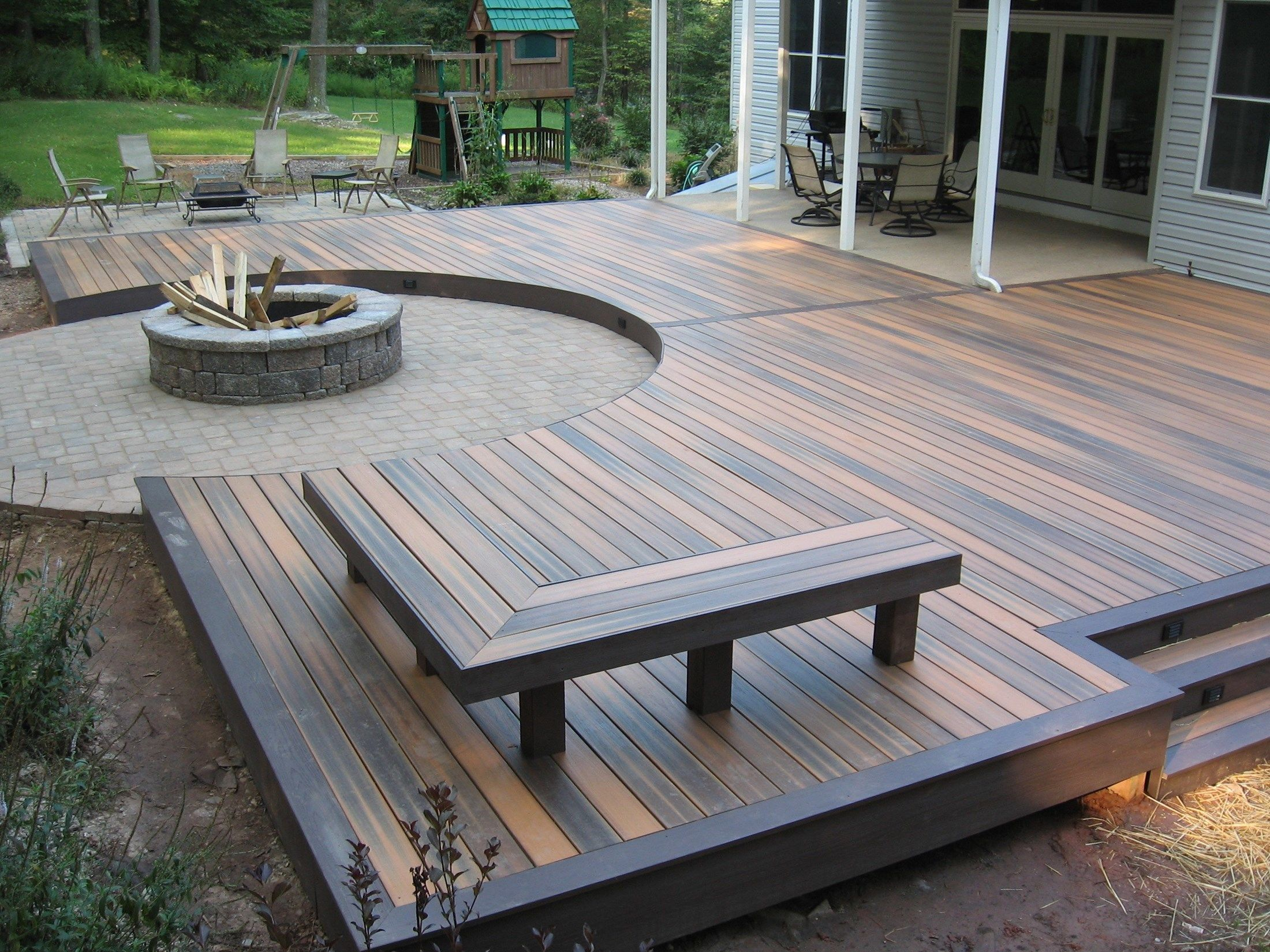 Ground Level Deck Ideas, Designs & Pictures | Composite ... on House Backyard Deck id=40817