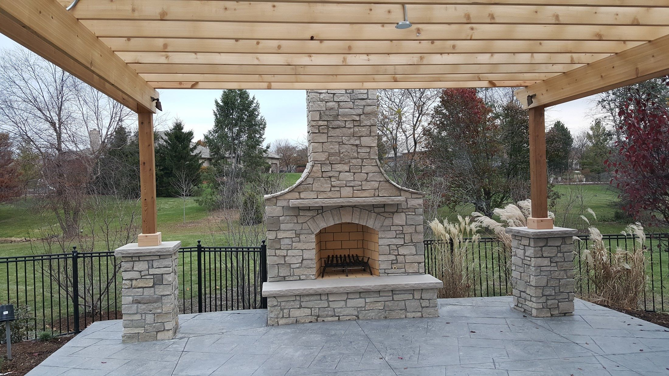 Pergola With Stone Columns Picture 3633 Decks Com