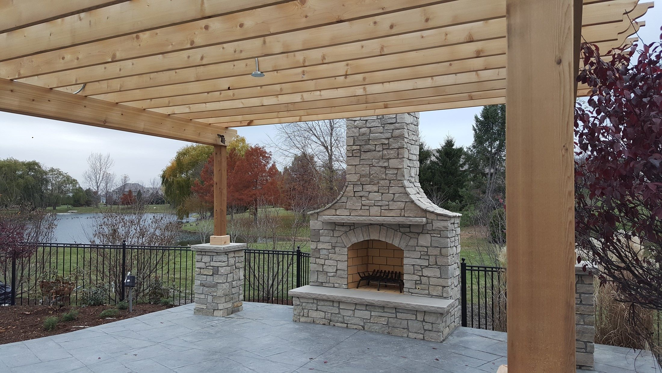 Pergola With Stone Columns Picture 3634 Decks Com