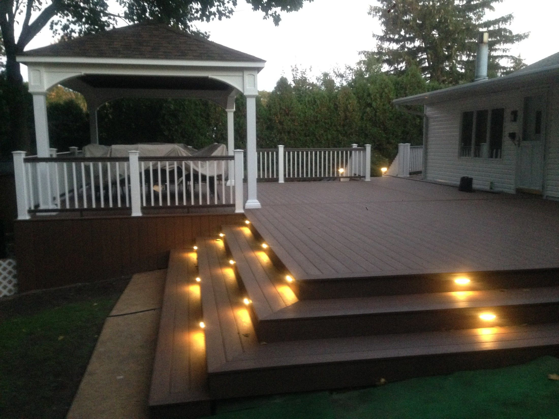 Multi-Level Deck with Pergola and Stair Accent Lighting - Picture 6765