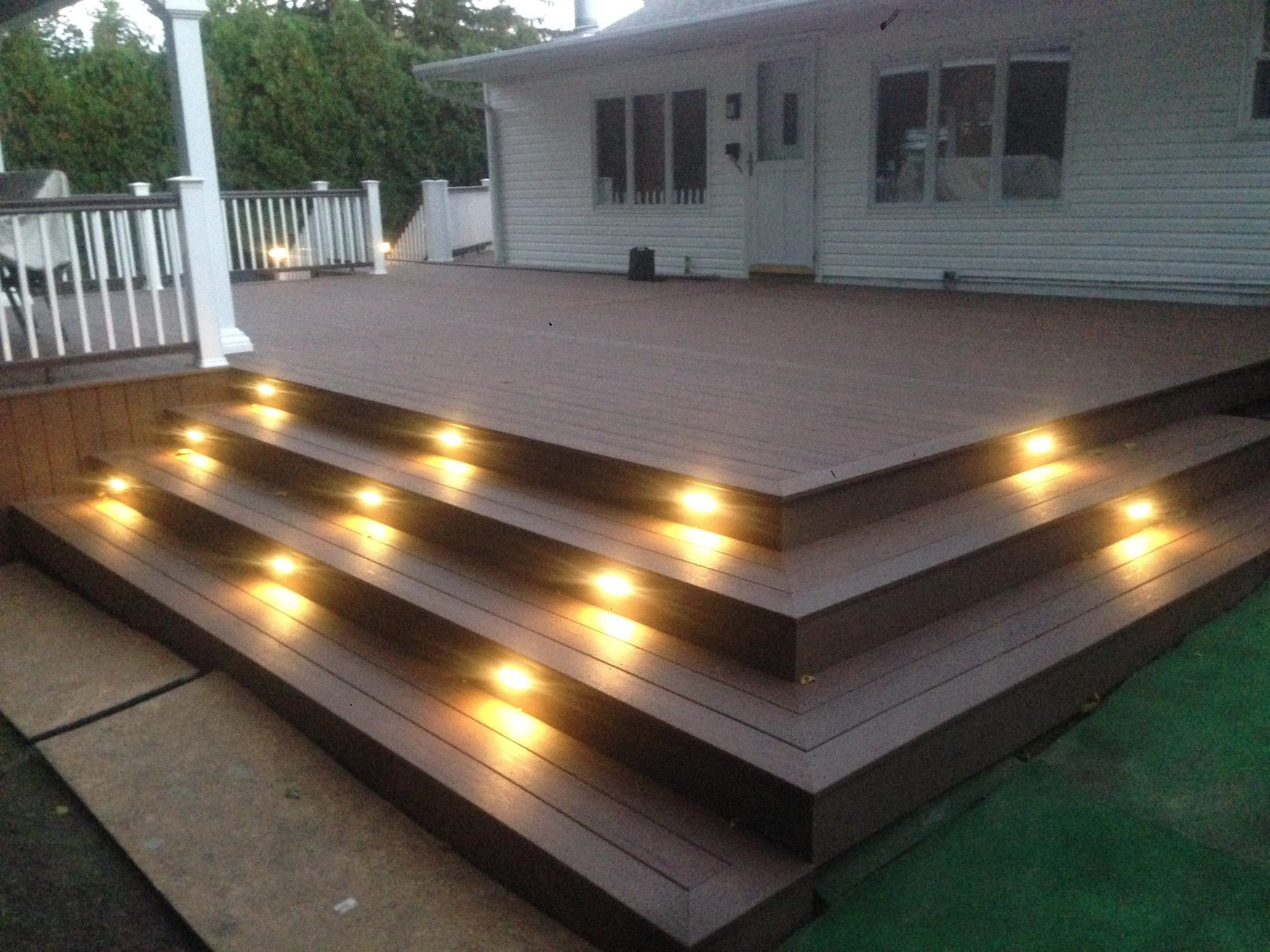 Multi-Level Deck with Pergola and Stair Accent Lighting - Picture 6766