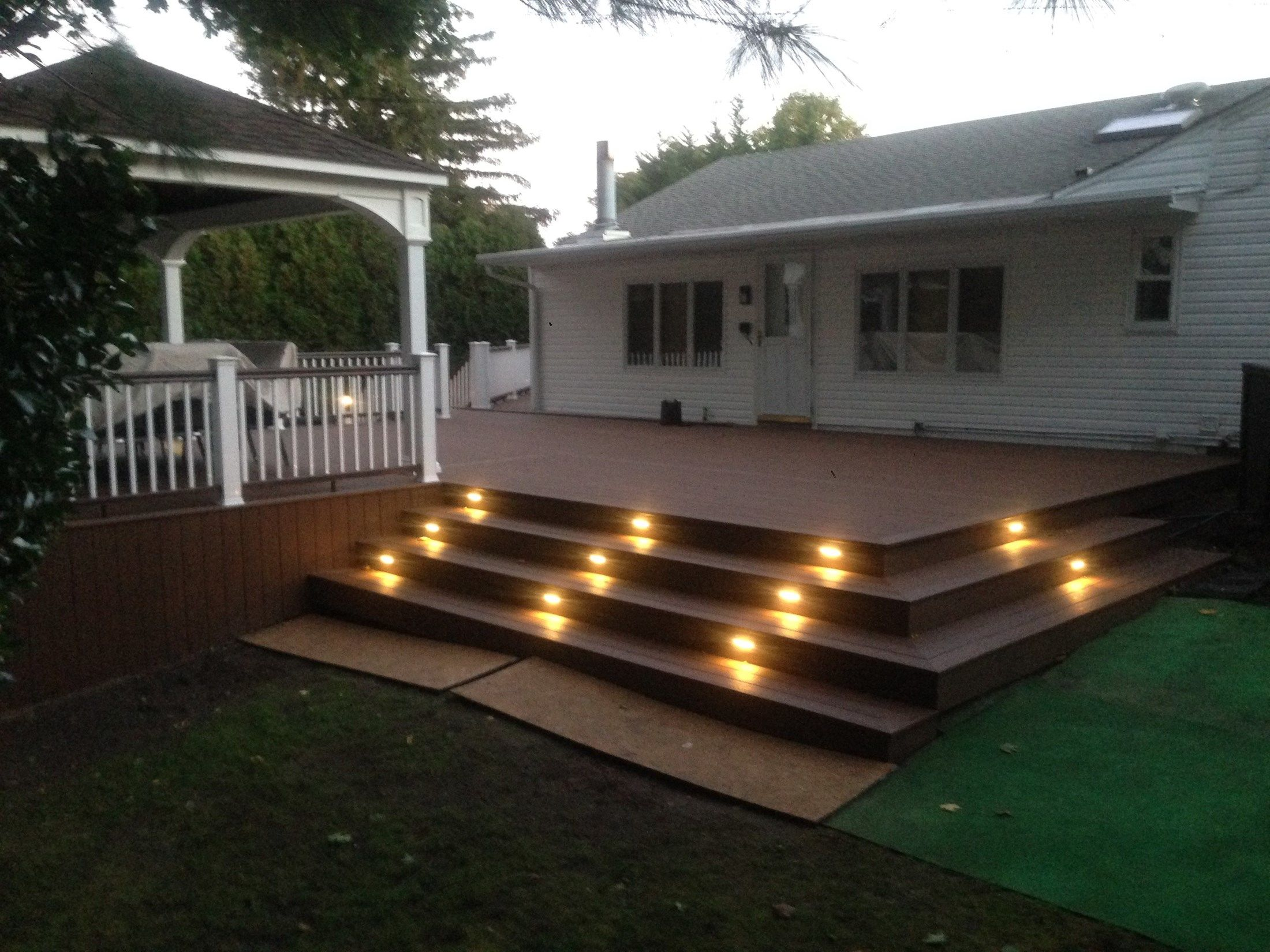 Multi-Level Deck with Pergola and Stair Accent Lighting - Picture 6768