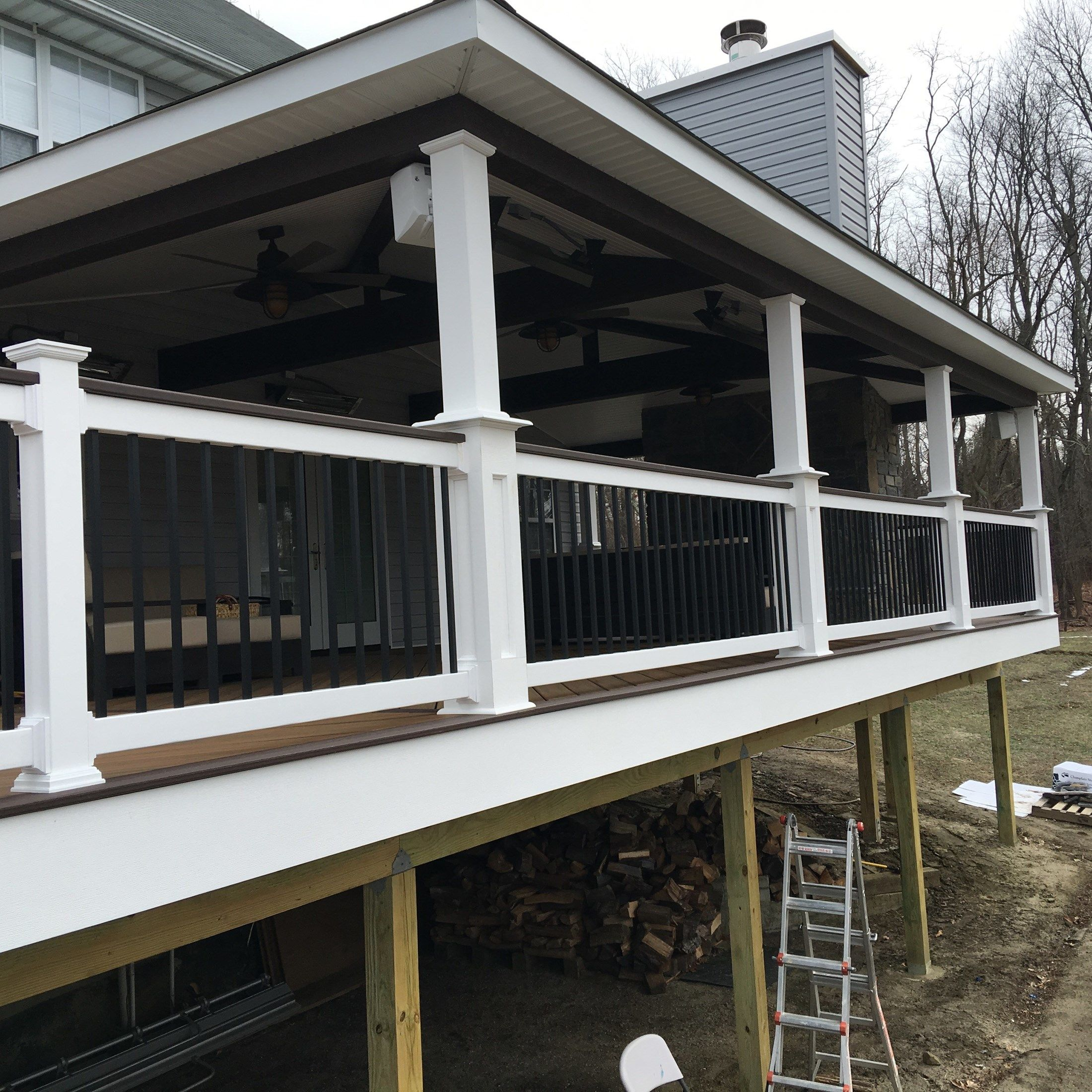 Custom Roofed deck with Fireplace in Millstone nj - Picture 6771