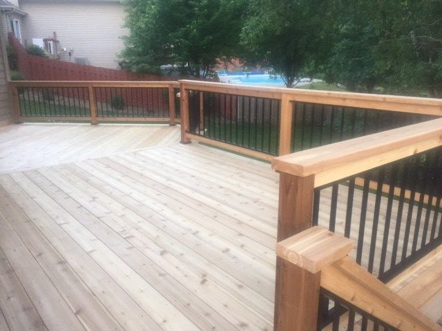 Cedar deck with aluminum baluster railings. - Picture 7216