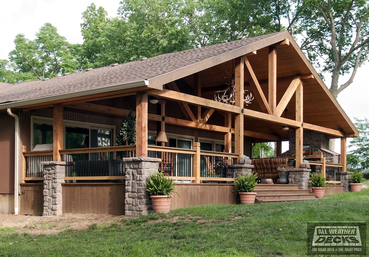 Decks Com Gabled Roof Covered Deck Picture 7676