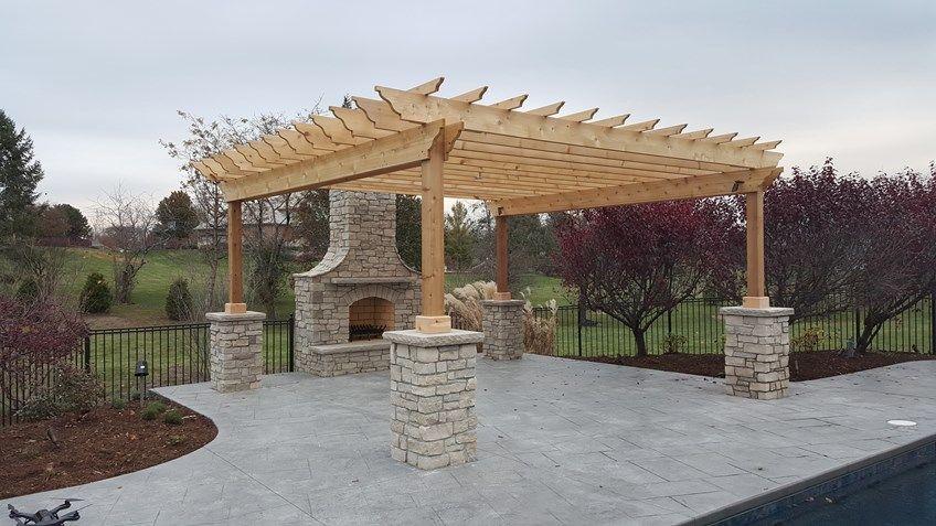 Decks Com Pergola With Stone Columns Picture 3632