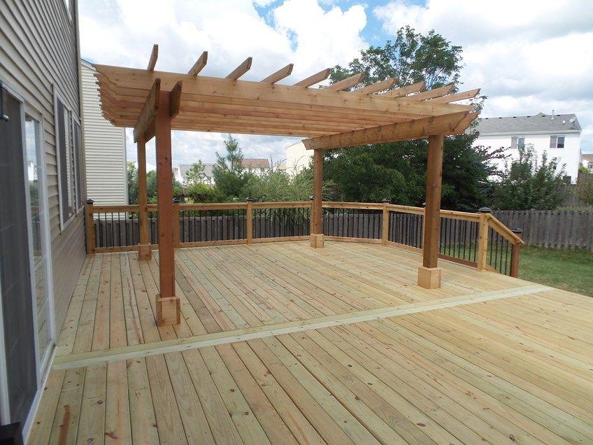 Cedar deck pergola picture 3638 - Pergolas de troncos ...
