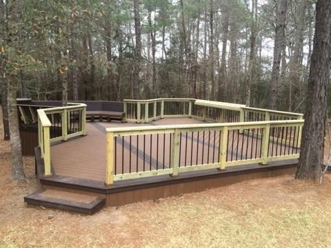Free Standing Composit Deck In The Woods - Picture 6944
