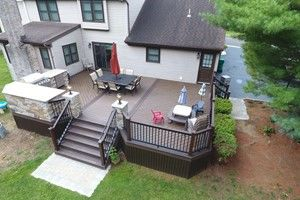 Example of open deck plan with herringbone pattern